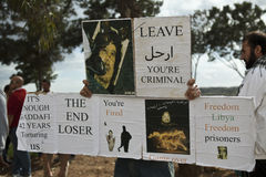 Protestation libyenne d'ambassade image stock