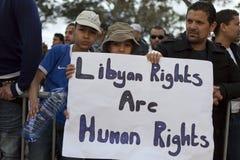 Protestation libyenne d'ambassade photo stock