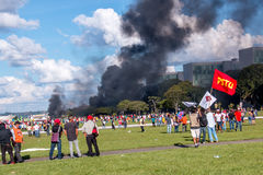 Protestation massive à Brasilia, Brasilia Photographie stock libre de droits