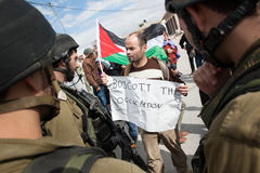 Protestation palestinienne 'boycottez profession' Images stock