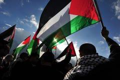 Protestation palestinienne d'activistes Image libre de droits