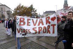 PROTESTATION PAR DES SPORTS DE CHEVAL Photos libres de droits
