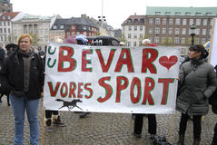 PROTESTATION PAR DES SPORTS DE CHEVAL Photographie stock libre de droits