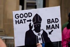 Protestation pendant la visite de pape vers le R-U, Edimbourg Images libres de droits