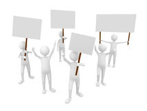 Protestation with posters. 3D render Stock Image
