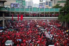 Protestation rouge de chemises à Bangkok Image libre de droits