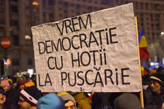 Protestation roumaine 29/01/2017 Photographie stock libre de droits
