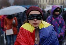 PROTESTATION SILENCIEUSE À BUCAREST photo stock