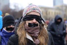 PROTESTATION SILENCIEUSE À BUCAREST images libres de droits