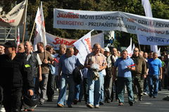 protestationarbetare Arkivbild