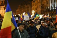 Protestations contre de nouvelles lois de justice dans Timisoara, Roumanie en janvier 2018 photos stock