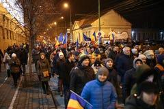 Protestations contre de nouvelles lois de justice dans Timisoara, Roumanie en janvier 2018 photos libres de droits