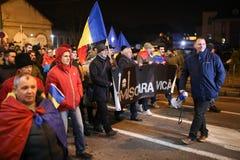 Protestations contre de nouvelles lois de justice dans Timisoara, Roumanie en janvier 2018 photographie stock libre de droits