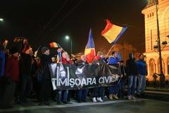 Protestations contre de nouvelles lois de justice dans Timisoara, Roumanie en janvier 2018 photo libre de droits
