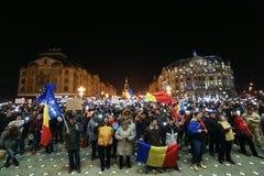 Protestations contre de nouvelles lois de justice dans Timisoara, Roumanie en janvier 2018 photo stock