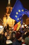 Protestations contre de nouvelles lois de justice dans Timisoara, Roumanie en janvier 2018 image libre de droits