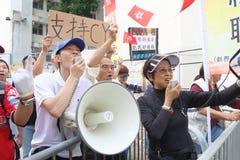 Protestations contre l'adresse de politique de HKSAR, forum de budget photo stock