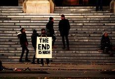 Protestations d'étudiant contre l'austérité Image stock