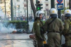 Protestations d'anarchiste à Athènes, Grèce Image stock