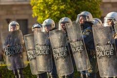 Protestations d'anarchiste à Athènes, Grèce Photographie stock libre de droits
