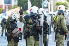 Protestations d'anarchiste à Athènes, Grèce Images libres de droits