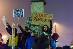 Protestations d'Anti-corruption du jour 4 à Bucarest Images libres de droits