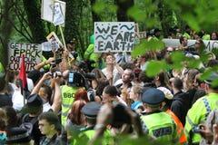 Protestations de Balcombe Fracking Photos libres de droits