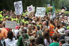 Protestations de Balcombe Fracking Photo libre de droits