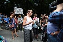 Protestations de Balcombe Fracking Images stock