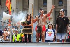 Protestations de jour d'Australie de jour d'invasion à Melbourne Photos stock