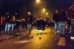 Protestations pendant le Jour de la Déclaration d'Indépendance polonais à Varsovie Images stock