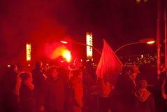 Protestations pendant le Jour de la Déclaration d'Indépendance polonais à Varsovie Image libre de droits
