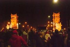 Protestations pendant le Jour de la Déclaration d'Indépendance polonais à Varsovie Image stock