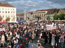 Protestations pour Rosia Montana Photographie stock libre de droits