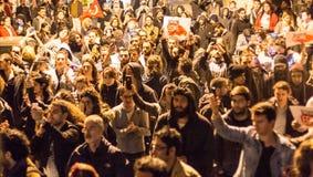 Protestations sur les rues d'Istanbul Photographie stock libre de droits