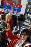 Protestatore dei independens del Kosovo Immagine Stock