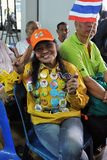 Protestatore della Giallo-Camicia ad un raduno a Bangkok Immagini Stock Libere da Diritti
