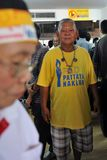 Protestatore della Giallo-Camicia ad un raduno a Bangkok Immagine Stock