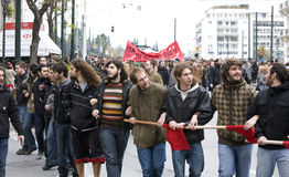 Protestatori di Atene 09-01-09 fotografie stock libere da diritti