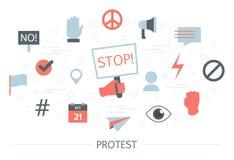 Protestconcept Idee van menigte van activist op demonstratie stock illustratie