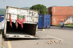 Protestcontainers, Islamabad Stock Foto's