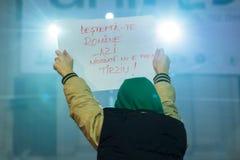 Proteste anticorruzione di giorno 4 a Bucarest Immagine Stock