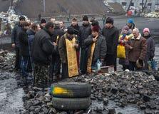 Proteste antigovernative nel centro di Kiev Fotografia Stock Libera da Diritti