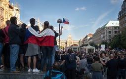 Protests on Wenceslas Square in Prague