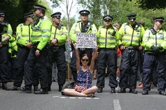 Proteste Balcombe Fracking Stockbild
