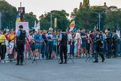 Proteste a Bucarest Romania contro l'augusto/i 11 governi corrotti/2018 Immagini Stock