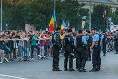 Proteste a Bucarest Romania contro l'augusto/i 11 governi corrotti/2018 Fotografie Stock Libere da Diritti