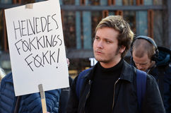 Proteste contra asilos de impuesto delante del parlamento noruego (Stortinget) Fotografía de archivo