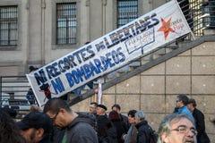 Proteste contra guerra siria, ES terrorismo e islamophobia en Europa, en el centro de ciudad de Madrid Foto de archivo libre de regalías