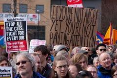 Proteste contra la conferencia BRITÁNICA de LibDem; ¡cólera! fotografía de archivo libre de regalías
